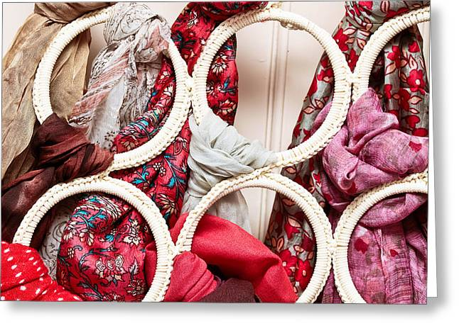 Hanging Scarfs Greeting Card