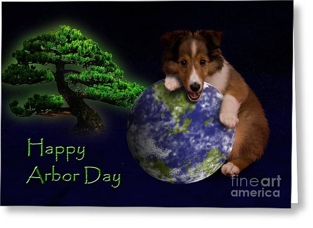 Happy Arbor Day Sheltie Puppy Greeting Card by Jeanette K