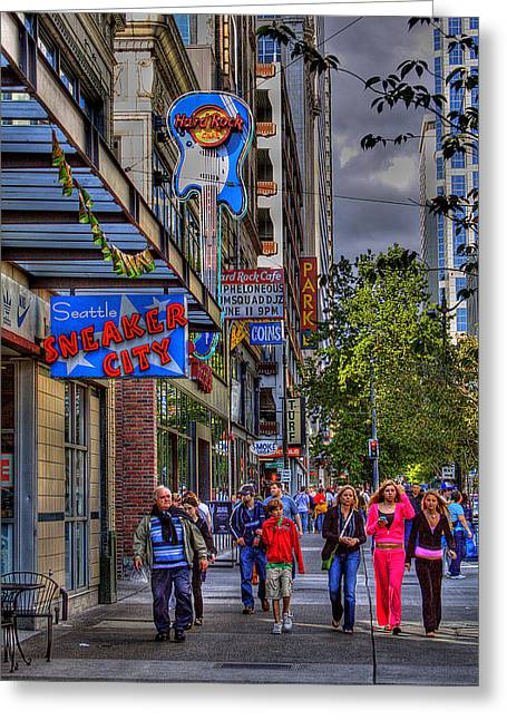 Hard Rock Cafe - Seattle Greeting Card by David Patterson