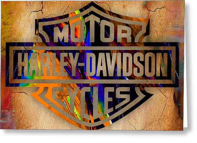 Harley Davidson Cycles Greeting Card by Marvin Blaine