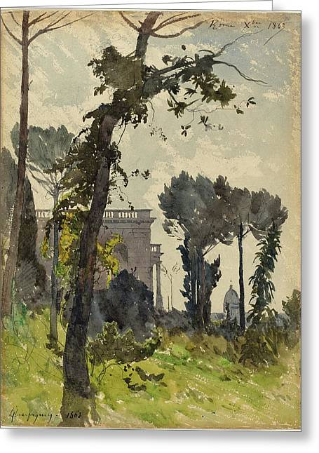 Henri-joseph Harpignies French, 1819 - 1916 Greeting Card by Quint Lox