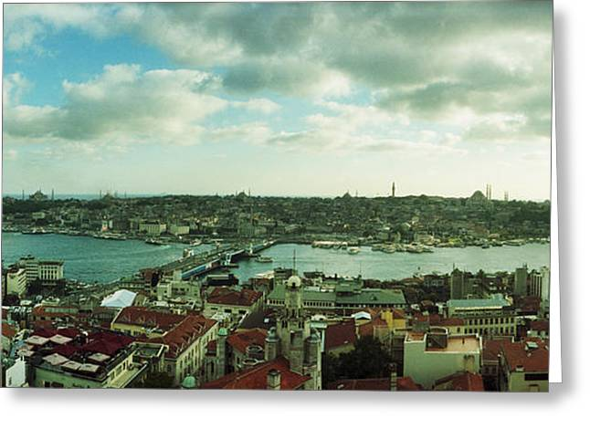 High Angle View Of A City, Istanbul Greeting Card by Panoramic Images