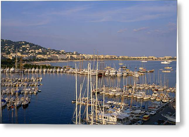 High Angle View Of Boats Docked Greeting Card by Panoramic Images