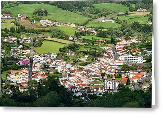 High Angle View Of Houses In A Village Greeting Card
