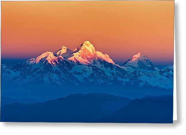 Himalayan Mountains View From Mt. Shivapuri Greeting Card by Ulrich Schade