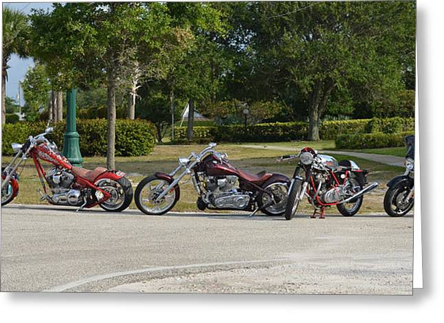 Hogs And Choppers Greeting Card by Laura Fasulo
