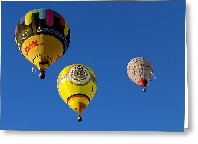 Greeting Card featuring the photograph 3 Hot Air Balloon by John Swartz