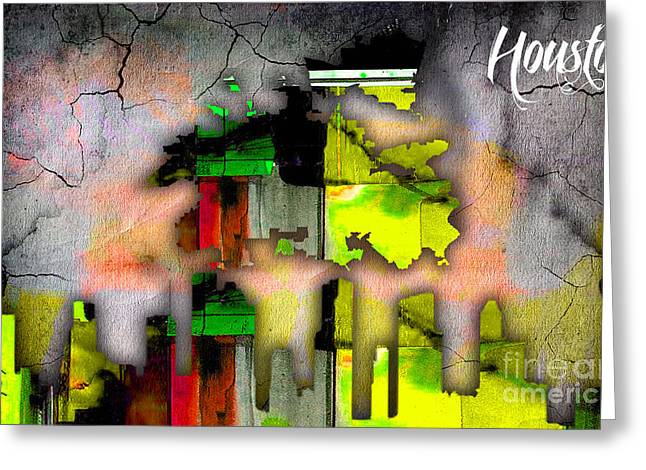 Houston Map And Skyline Watercolor Greeting Card