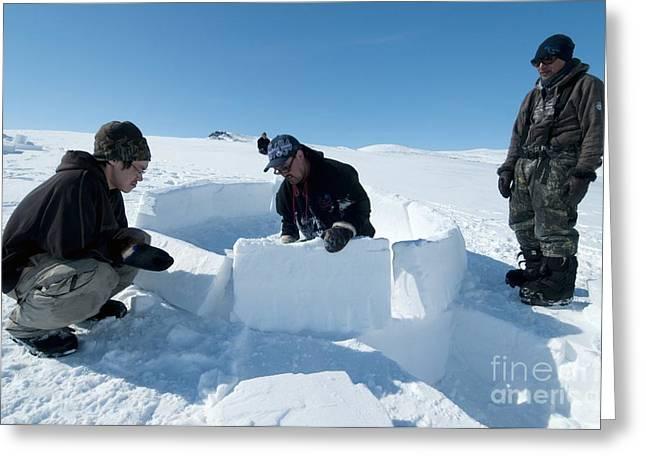 Igloo Building, Arctic Greeting Card