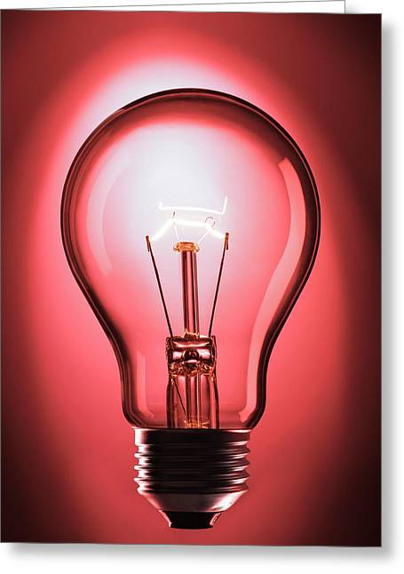 Incandescent Light Bulb Greeting Card by Science Photo Library
