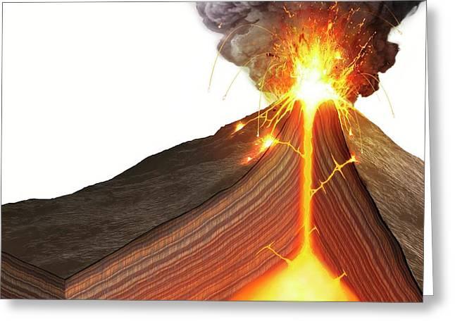Interior Of A Stratovolcano Greeting Card by Mark Garlick