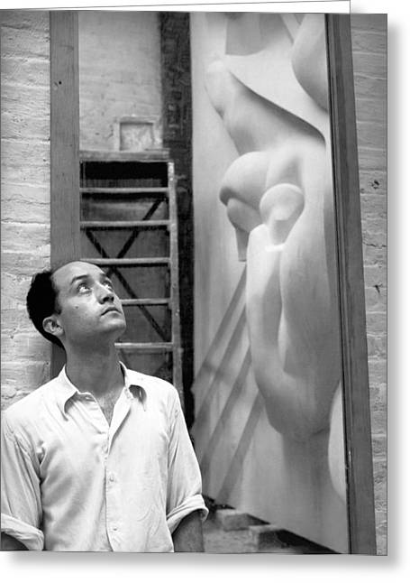 Isamu Noguchi With Sculpture Greeting Card by Underwood Archives