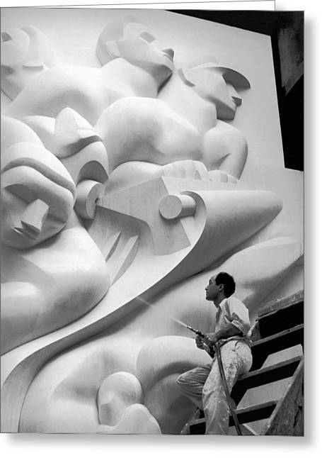 Isamu Noguchi Working Greeting Card by Underwood Archives