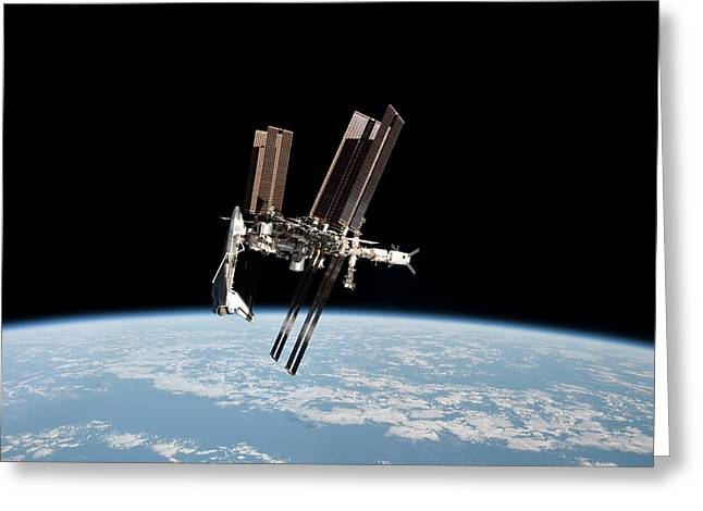 Iss And Space Shuttle Greeting Card by Nasa/science Photo Library