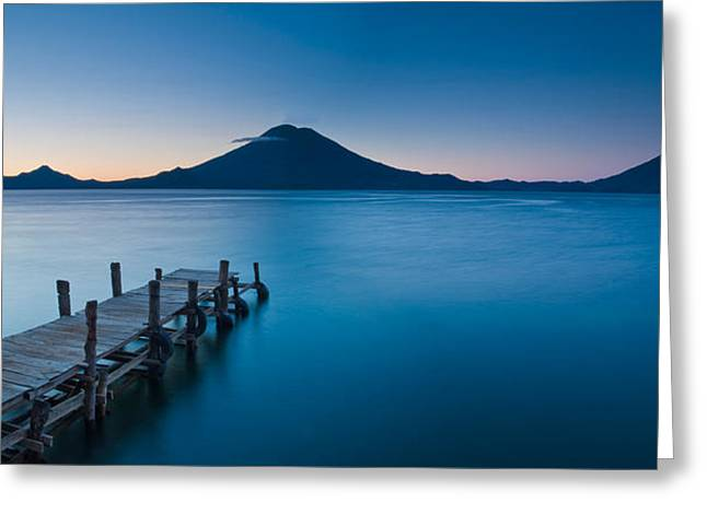 Jetty In A Lake With A Mountain Range Greeting Card by Panoramic Images