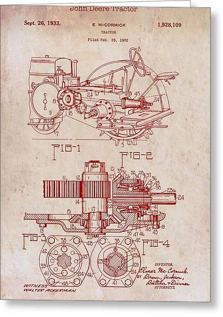 John Deere Tractor Patent 1933 Greeting Card