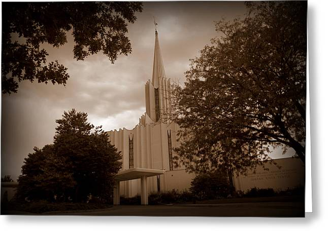 Jordan River Lds Temple Greeting Card by Nathan Abbott