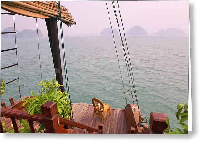 Junk Boat And Karst Islands In Halong Greeting Card by Keren Su