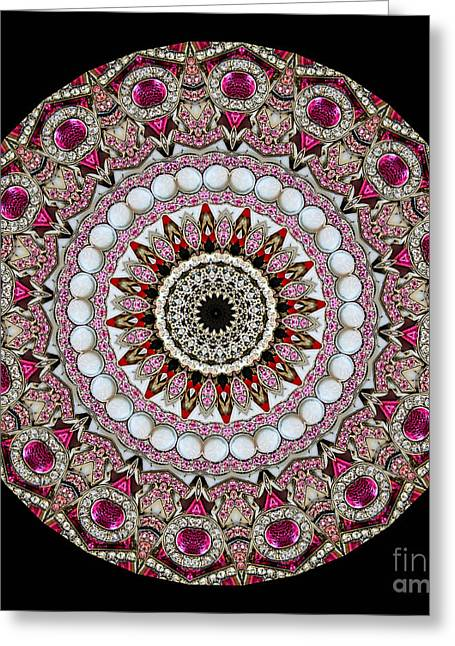 Kaleidoscope Colorful Jeweled Rhinestones Greeting Card by Amy Cicconi
