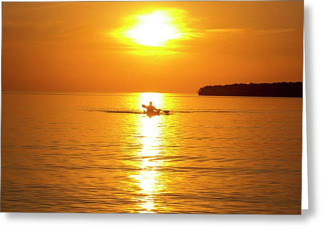 Kayaking At Sunset In The Apostle Greeting Card by Chuck Haney