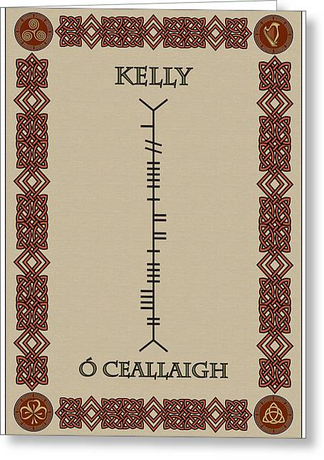 Greeting Card featuring the digital art Kelly Written In Ogham by Ireland Calling