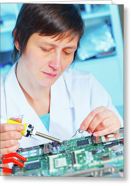 Lab Assistant Working On Circuit Board Greeting Card