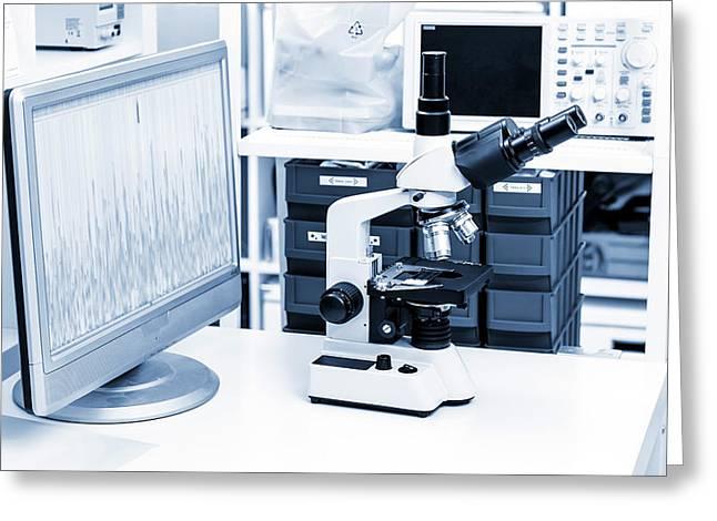 Lab Microscope Greeting Card