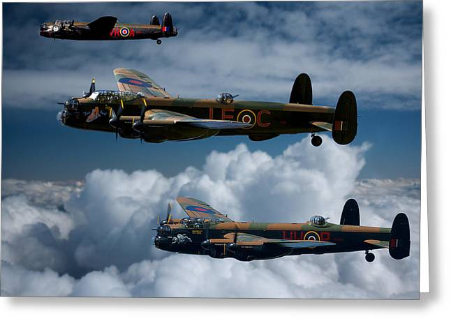 3 Lancaster Bombers Greeting Card by Ken Brannen