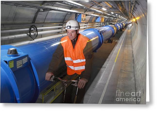 Lhc Tunnel, Cern Greeting Card by David Parker