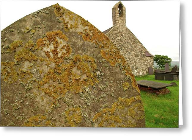 Lichen On Gravestone In Unpolluted Air Greeting Card