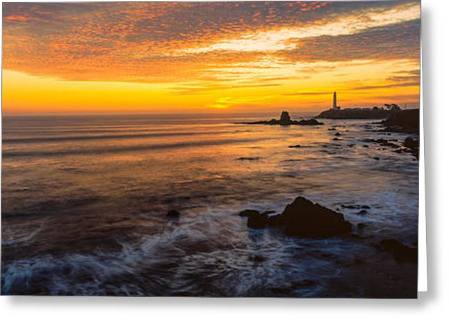 Lighthouse On The Coast, Pigeon Point Greeting Card by Panoramic Images