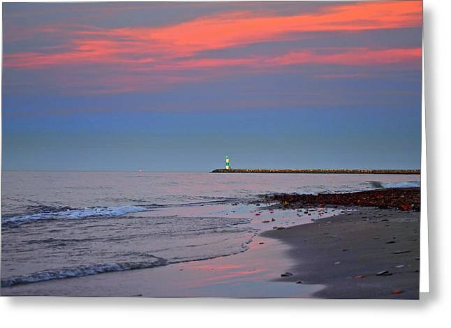 Lighthouse Sunset Greeting Card by Frozen in Time Fine Art Photography