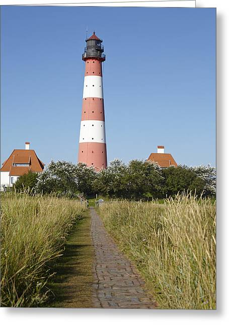 Lighthouse Westerhever And Stockenstieg Greeting Card by Olaf Schulz