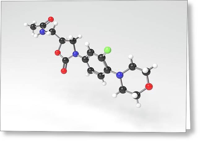 Linezolid Antibiotic Molecule Greeting Card by Indigo Molecular Images