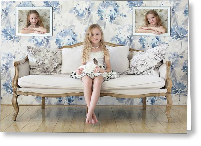 3 Little Girls And A White Rabbit Greeting Card