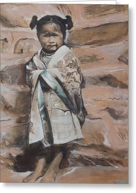 Little Hopi Girl Greeting Card by Terri Ana Stokes
