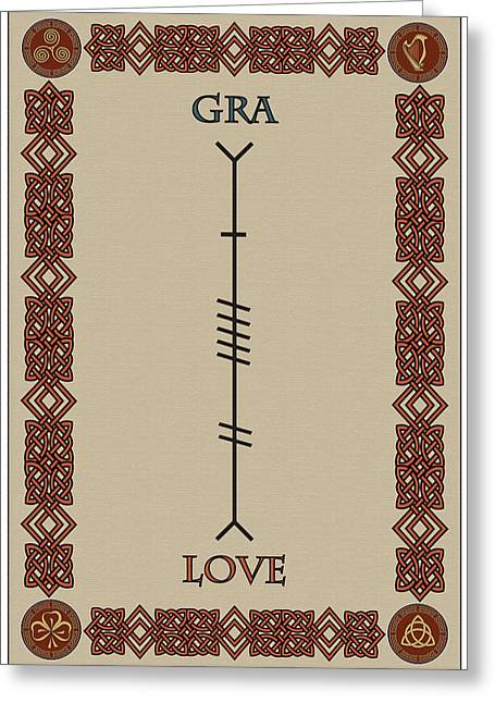 Love Written In Ogham Greeting Card by Ireland Calling