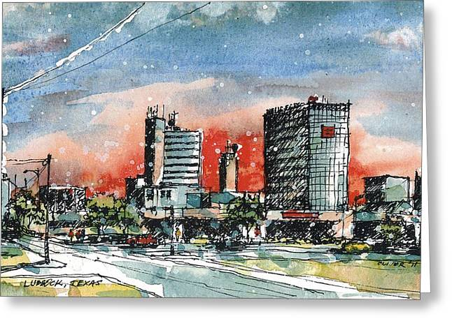 Lubbock Texas Skyline Greeting Card by Tim Oliver
