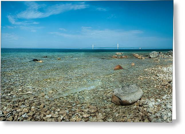 Greeting Card featuring the photograph Mackinac Bridge by Larry Carr