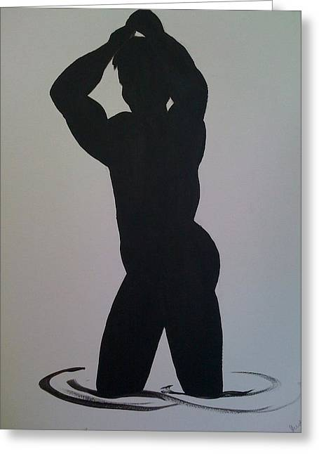 Greeting Card featuring the painting Male Silhouette by Judi Goodwin