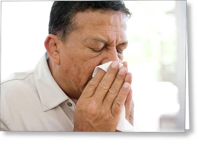 Man Sneezing Greeting Card by Ian Hooton/science Photo Library