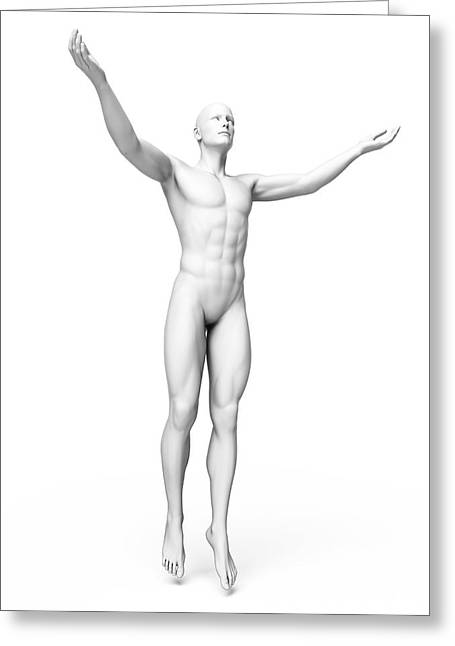 Man Standing With Arms Out Greeting Card by Sebastian Kaulitzki