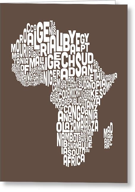 Map Of Africa Map Text Art Greeting Card by Michael Tompsett
