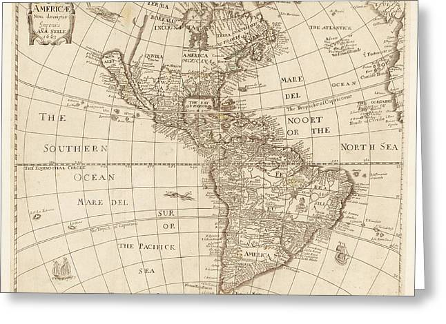 Map Of The Americas Greeting Card