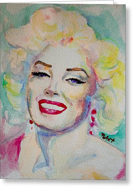 Greeting Card featuring the painting Marilyn by Laur Iduc