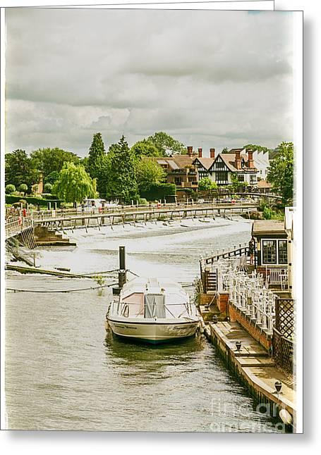 Marlow Weir As Seen From Marlow Suspension Bridge  Greeting Card