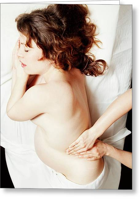 Massage In Pregnancy Greeting Card by Thomas Fredberg