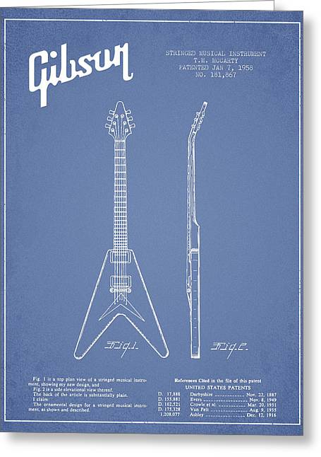 Mccarty Gibson Electric Guitar Patent Drawing From 1958 - Light Blue Greeting Card