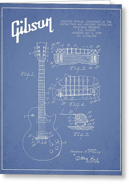 Mccarty Gibson Les Paul Guitar Patent Drawing From 1955 - Light Blue Greeting Card