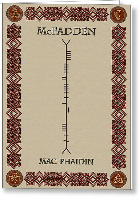 Mcfadden Written In Ogham Greeting Card by Ireland Calling